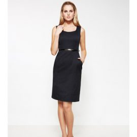 30211 Biz Corporates Pinstripe Sleeveless Side Zip Dress