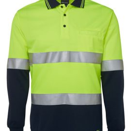 6HVSL JBs Hi Vis Long Sleeve Day & Night Traditional Polo Yellow
