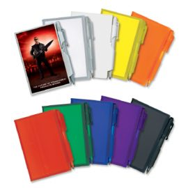 The Trends Collection Pocket Rocket Note Book is a best selling note book with 80 page pad. Plastic cover and matching mini pen. 9 colours available.