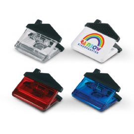 The Trends Collection House Magnetic Clip is a translucent house shaped clip with a strong magnet. Available in white. Great branded magnetic clips.