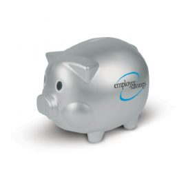 The Trends Collection Piggy Bank is a traditional piggy bank with removable plug. Available in Silver. Can be branded. Great fundraiser or bank promotional product.