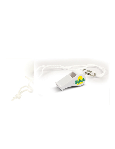 The Trends Collection Sports Whistle comes with a lanyard. Available in White. Can be branded with your logo. Great for sports teams and events.