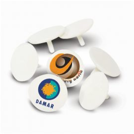 The Trends Collection Plastic Golf Ball Marker is a lost cost plastic golf ball marker.  In White and branding available.  Great golf promotional product.