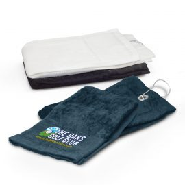 The Trends Collection Golf Towel is a pre-folded cotton golf towel.  Has an eyelet and clip to attach to golf bags and carts.  Available in 3 colours.  Great golf promotional product.