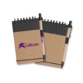 The Trends Collection Enviro Note Book is a 50 page, wire bound, pocket note book with elastic strap and pen. Book and pen made from recycled paper. Great eco promotional product.