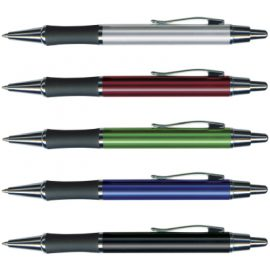 The Trends Collection Moritz Pen is a retractable brass barrel ball pen with soft rubber grip.  3 colours.  Great branded pens & promotional products.