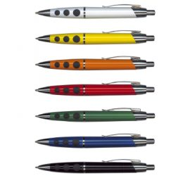 The Trends Collection Hilton Pen is a retractable plastic and metal ball pen.  It is available in 8 colours.  Blue ink available.  Can be branded with your logo.