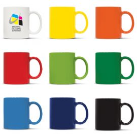 The Trends Collection Arabica Coffee mug is a 300ml D Handle stoneware coffee mug. White inside, colour outside. Great branded promotional drink ware.