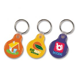 The Trends Collection Round Flexi Resin Key Ring is a flexible key ring with resin coated finish.  Full Colour printing both sides.  Great branded promotional product.