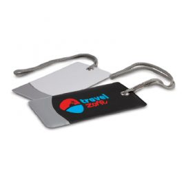 The Trends Collection Trekka Luggage Tag is a sturdy luggage tag with address panel.  In White or Black with Silver.  Great branded travel promotional product.
