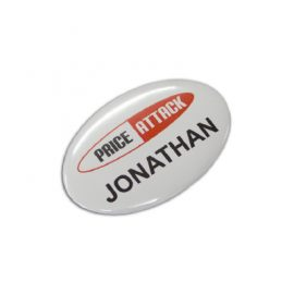 The Trends Collection Button Badge Oval - 65 x 45mm is a pin on button badge.  Full Colour Print.  Great branded promotional product for all occasions.