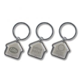 The Trends Collection Spinning House Key Ring is a metal house shaped key ring.  Great branded promotional product for a variety of uses.  Laser Engraved.