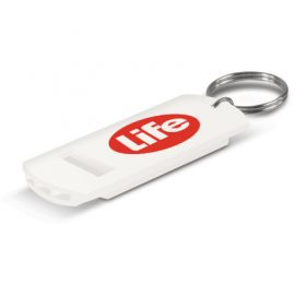The Trends Collection Safety Whistle has a key ring to attach to keys or bags.  In White.  Great branded promotional safety product for range of events and uses.