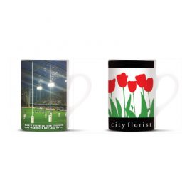 The Trends Collection Roma Coffee Mug is a 300ml slimline stoneware coffee mug. Dishwasher Safe. Great branded coffee mug for hospitality & corporate gifts.
