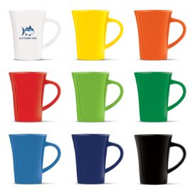 The Trends Collection Tulip Coffee Mug is a 300ml stoneware coffee mug. 5 Bright outer colours. Great branded promotional mugs for hospitality & gifts.