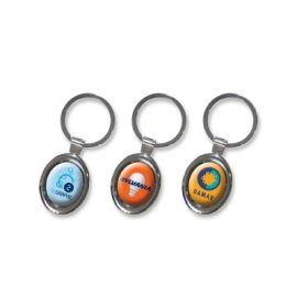 The Trends Collection Oval Metal Key Ring is a metal oval key ring with shiny chrome finish.  Great branded promotional key ring product.