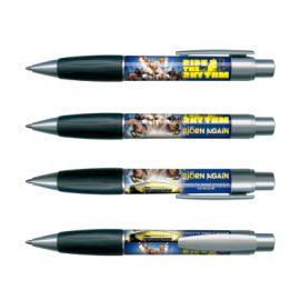 The Trends Collection Matrix 360 Pen is a retractable plastic ball pen designed for full colour wrap around printing.  Min. 3000 units.  Great branded promotional pen.