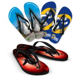 The Trends Collection Flip Flops are the perfect promotional product for summer!  Sublimation printing with your logo.  Great jandals for spas and summer events.