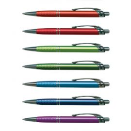 The Trends Collection Aria Pen is a retractable aluminium ball pen.  Available in 9 colours.  Great branded smart promotional pen product.