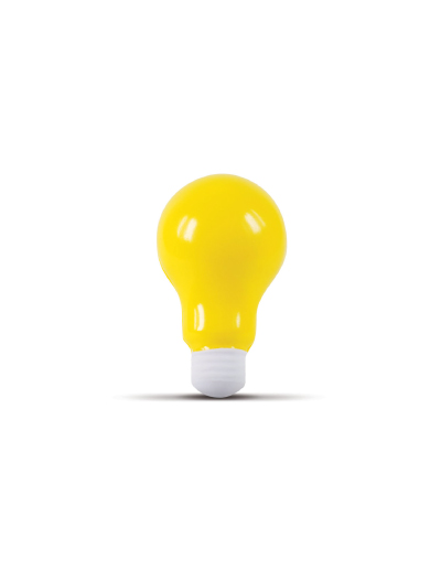 The Trends Collection Stress Light Bulb is a light bulb shaped anti stress toy made from P.U.  In Yellow.  Great branded anti stress promotional product.