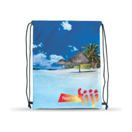 The Trends Collection Drawstring Back Pack is a robust low cost drawstring back pack. Full colour printing on front. Comes in Black. Sublimation printing.