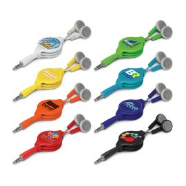 The Trends Collection Retractable Earbuds are spring loaded retractable ear buds.  Available in 8 colours.  Great branded promotional products.
