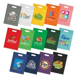 The Trends Collection Delta Tote Bag is a small heat sealed tote bag with die cut hand grips.  80gsm.  14 colours.  Great branded promotional bag product.