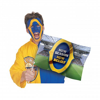 The Trends Collection Supporters Flag is a low cost promotional flag that can be printed in full colour on 1 side.  Great branded promotional team supporters product.