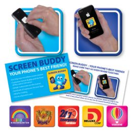 The Trends Collection Screen Buddy is a compact mini screen cleaner.  Sticks securely on back of phone.  Full colour printing.  Great promotional product.