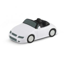 The Trends Collection Stress Car is a car shaped anti stress toy made from P.U.  White with Black Trim.  Great branded anti stress promotional product.