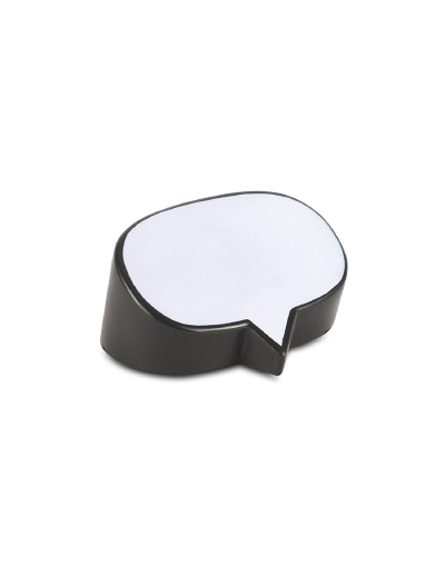 The Trends Collection Stress Speech Bubble is an anti stress toy shaped in a speech bubble made from P.U. White with Black. Great branded stress promo product.
