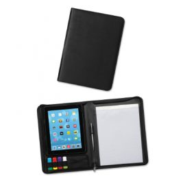 The Trends Collection Whitehall Tablet Portfolio is a table case or portfolio with secure zip closure.  A4 lined pad and multiple loops for storage.  Great branded promo product.
