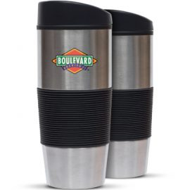 The Trends Collection Ventura Thermal Mug is a large 450ml stainless steel double wall thermal mug.  Great branded promotional drinkware product.  In Silver.
