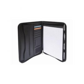 The Legend Life Windsor A4 Zip Compendium has a business card sleeve, A4 writing pad and note holder. Black. Great branded compendiums & business portfolios.