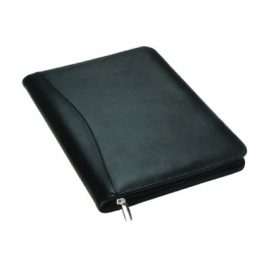 The Legend Life Leather A4 Compendium is a natural leather folder qith pen holder, A4 pad & card holder. Black. Great branded compendiums & business portfolios.