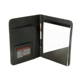 The Legend Life Leather A5 Folder is a compendium made from natural leather. Black. With writing pad, card holder & pen loop. Great branded folders & business portfolios.