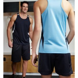 The Biz Collection Mens Flash Singlet is a 100% Biz Cool breathable polyester singlet.  Contrast colours.  12 colours.  Great branded biz cool singlets.