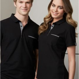 The Biz Collection Ladies Edge Polo is a 65% polyester, 35% cotton pique knit polo shirt.  Black/Check.  Sizes 6 - 24.  Great branded polo shirts & uniform clothing.