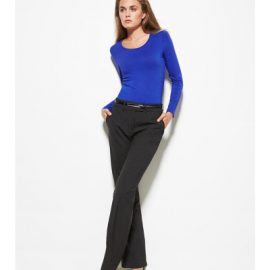 The Biz Corporates Womens Adjustable Waist Pant is a 55% Polyester 43% Wool 2% Elastane mid rise pant. Available in 3 colours. Sizes 4-30.