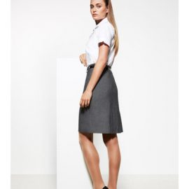 The Biz Corporates Womens Panelled Skirt is a 63% Polyester, 33% Viscose and 4% Elastane skirt. Available in Grey. Sizes 4-26.