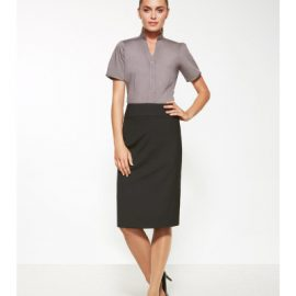 The Biz Corporates Womens Relaxed Fit Skirt is a 55% Polyester, 43% Wool, 2% Elastane skirt. Available in 3 colours. Sizes 4-26.