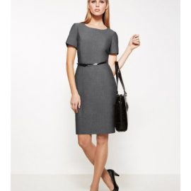 The Biz Corporates Womens Short Sleeve Dress- Textured is 63% Polyester 33% Viscose and 4% Elastane dress. Available in Grey. Sizes 4-22.