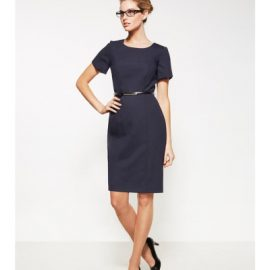 The Biz Corporates Womens Short Sleeve Dress- Wool is 63% Polyester 33% Viscose and 4% Elastane dress. Available in 3 colours. Sizes 4-22.
