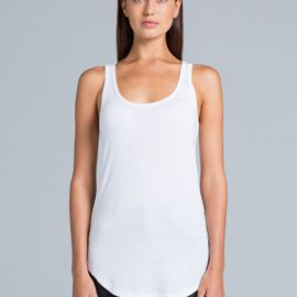 The AS Colour Dash Racerback Singlet is a 140gsm, 50% cotton womens singlet. In White, Grey & Black. XS - XL. Great printed womens singlets.
