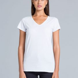 The AS Colour Bevel V-Neck Tee is a 150gsm, 100% cotton v-neck womens tee. In White, Grey Marle & Black. Sizes XS - XL. Great printed womens v-neck tees.