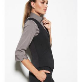 The Biz Corporates Womens Peaked Vest Knitted Back- Wool is a 55% Polyester, 43% Wool, 2% Elastane vest. Available in Black. Sizes 4-26.