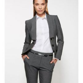 The Biz Corporates Womens Cropped Jacket is a textured yarn dyed stretch jacket made of 63% Polyester, 33% Viscose and 4% Elastane. Available in 3 colours. Sizes 4-26.