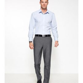The Biz Corporates Mens Slimline Pant is a textured pant made of 63% Polyester, 33% Viscose and 4% Elastane. Available in Grey. Sizes 77R-112R.