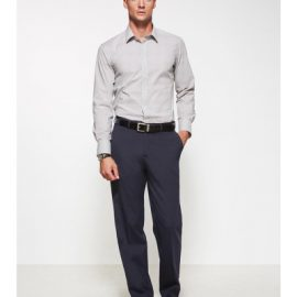 The Biz Corporates Men Flat Front Pant Regular is a wool blend made of 55% Polyester, 43% Wool, 2% Elastane Available in 3 colours. Sizes 77R-122R.