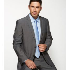 The Biz Corporates Mens Slimline Jacket is a textured fabric made of 63% Polyester, 33% Viscose and 4% Elastane. Available in Grey. Sizes 87R - 127R.